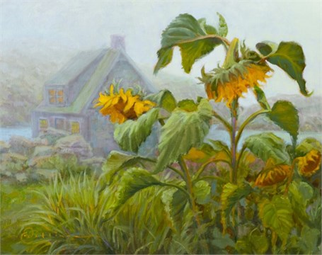 "Abbie Williams | Fog and Sunflowers | Oil | 16"" X 20"" 