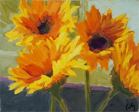 "Margaret Gerding | Day 21 (Sunflowers) | Oil | 8"" X 10"" 
