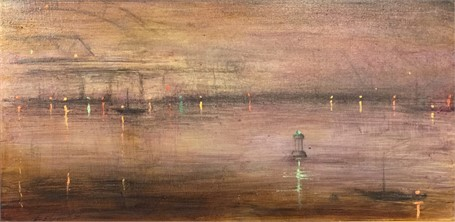 "John LeCours | Piscataqua Buoy | Oil on Canvas | 10"" X 20"" 
