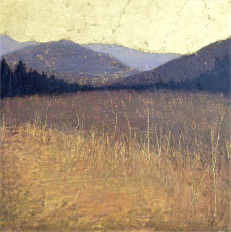 "Jill Valliere | Fields of Shadow | Plaster, Metal Leaf, Acrylic | 18"" X 18"" 