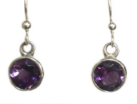 Earrings - Sterling Silver Dangles Amethyst E-696