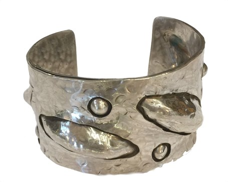 Barcelet - Sterling Silver Overlay Repousse Cuff - RW207
