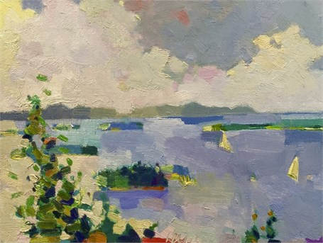 "Henry Isaacs | Scott Island, Penobscott Bay | Oil on Panel | 12"" X 16"" 
