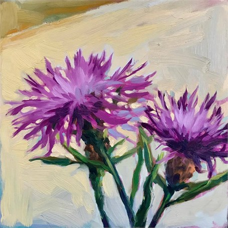 "Margaret Gerding | Day 4 (Thistle) | Oil | 8"" X 8"" 