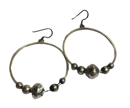Earring - Sterling Silver Hoops with Antiqued Navajo Pearls