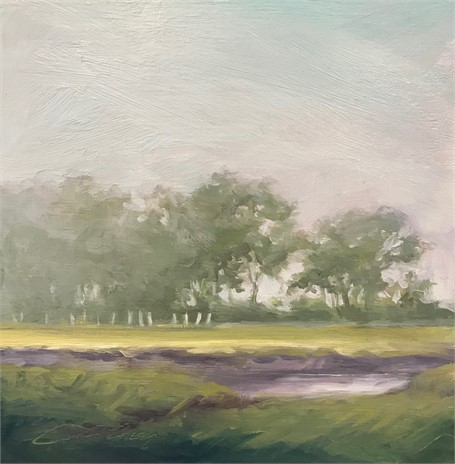 "Margaret Gerding | Morning Light-Day 23 | Oil on Panel | 8"" X 8"" 