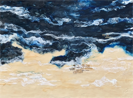 "Kathy Ostrander Roberts | Between the Devil and the Deep Blue Sea | Encaustic on Panel | 48"" X 36"" 