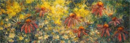 "Susan Wahlrab | Garden Party | Varnished Watercolor on Archival Clayboard | 12"" X 36"" 