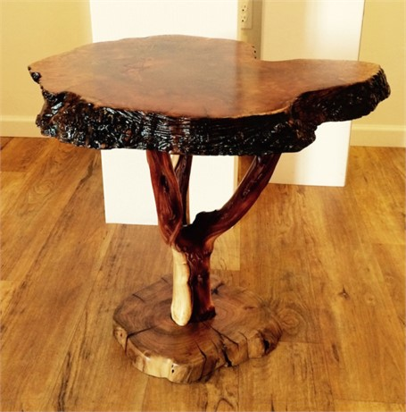 End Table - Madrone Top with Mesquite Root Burl & Metallic Inlay