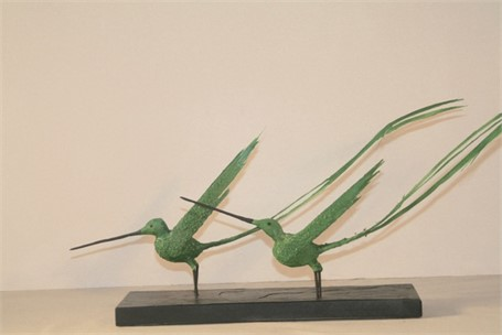 "James Rivington Pyne | 2 Green Birds, Taking to Flight | Composite | 9.75"" X 22"" | $250.00"