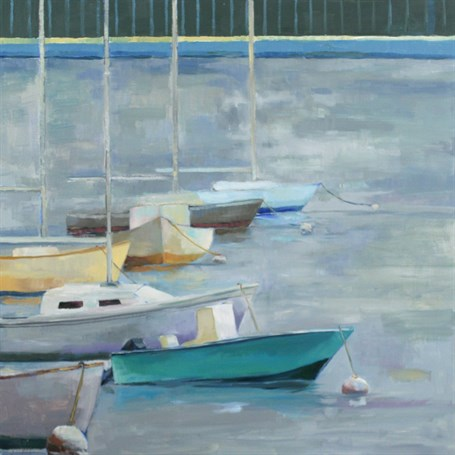 "Ellen Welch Granter | Boston Harbor November | Oil on Panel | 24"" X 24"" 