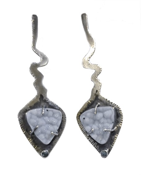 Earrings - Natural Blue Druzy Cabochons with Faceted Aquamarines and Sterling Silver 2531