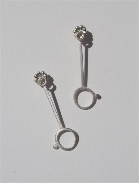Earring: Small Square Stock Circle and Line on Post