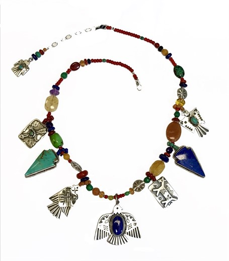 KY 1253C - Thunderbird Silver, Sterling w lapis, turquoise, citrine, amethyst, carnelian