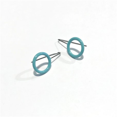Powder Coated Earrings: Small Circle in Pale Blue