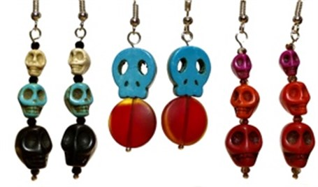 Earrings, Sugar Skulls - Assorted Colors
