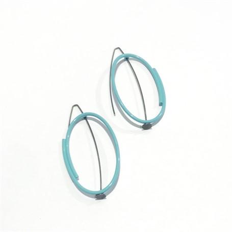 Powder Coated Earrings: Vertical Oval in Pale Blue