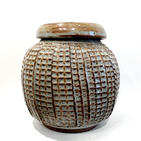 "Richard Winslow | Textured Pot with Lid in Amber | Ceramic | 7"" X 7.5"" 