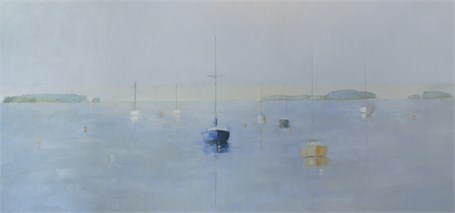 "Ellen Welch Granter | Harbor | Oil on Canvas | 24"" X 48"" 