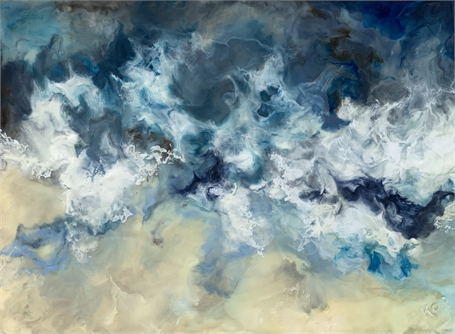 "Kathy Ostrander Roberts | Storm at Sea | Encaustic on Panel | 18"" X 24"" 