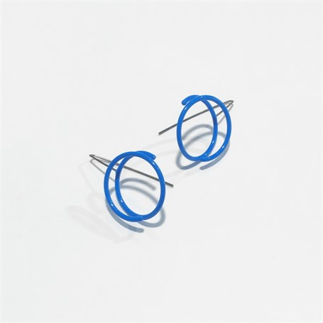 Powder Coated Earrings: Small Continuous Circle in Royal Blue