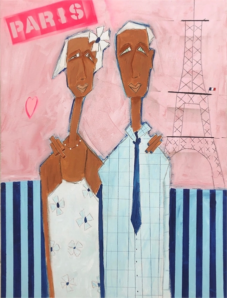"Rick Hamilton | Meet Me in Paris | Acrylic on Canvas | 40"" X 30"" 