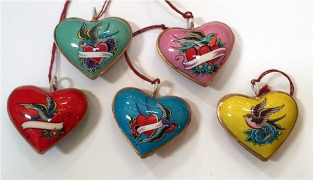 Ornament - Mini Lovebird Hearts