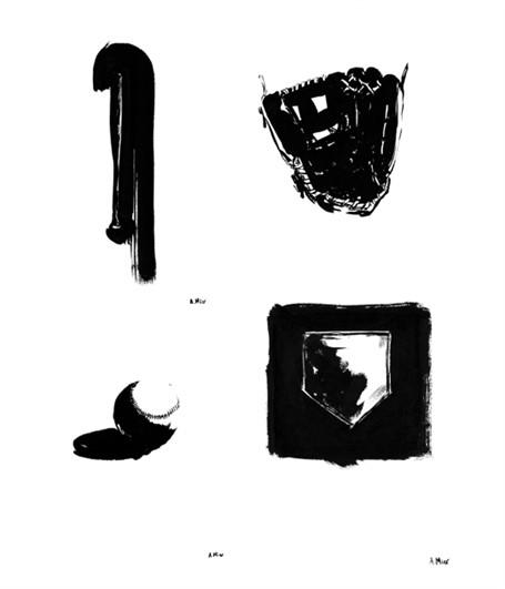 Baseball Ink Drawing