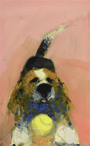 "Rebecca Kinkead | Beagle with the Ball | Oil and Wax on Linen | 24"" X 15"" 