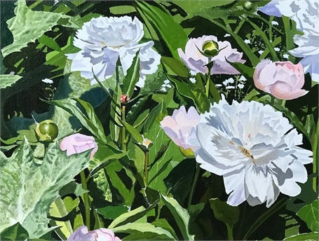 "William B. Hoyt | Peonies | Oil on Panel | 12"" X 16"" 