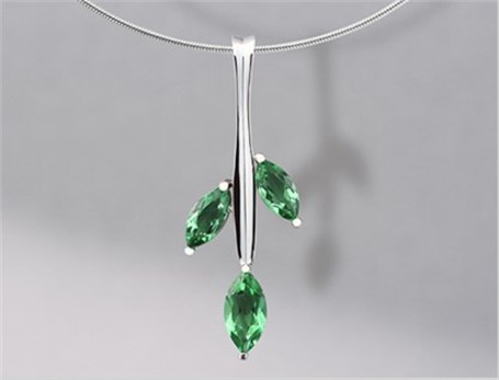 Pendant - Sterling Silver & Green Quartz Cactus 6504
