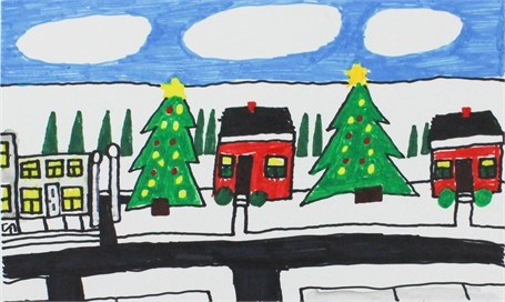 Houses with Christmas Trees