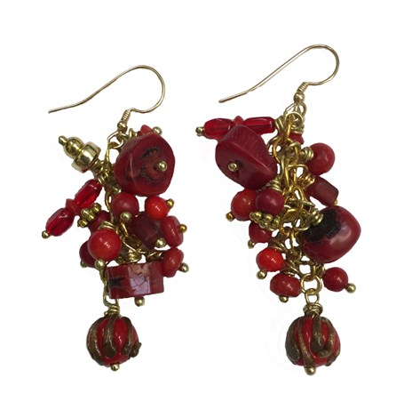 Earrings - Containing Coral, Carnelian, Garnet, Glass & Gold Plated Wire D 212
