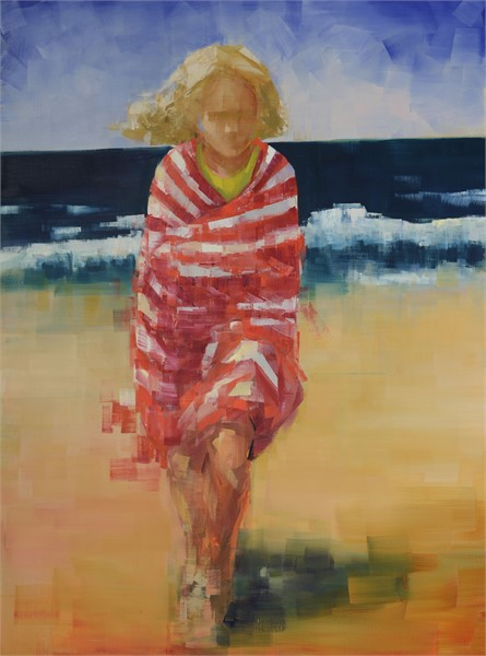 "Rebecca Kinkead | Beach Towel (Red and White) | Oil and Wax on Linen | 48"" X 36"" 