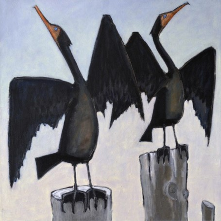 "David Witbeck | Two Cormorants | Oil on Canvas | 30"" X 30"" 