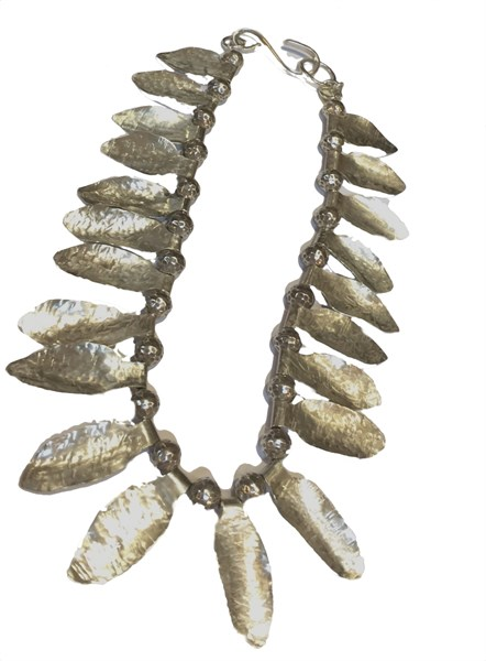 Necklace - Hand Forged Sterling Silver Leaf Choker
