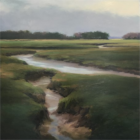 "Margaret Gerding | Morning Study of the Marsh | Oil on Panel | 18"" X 18"" 