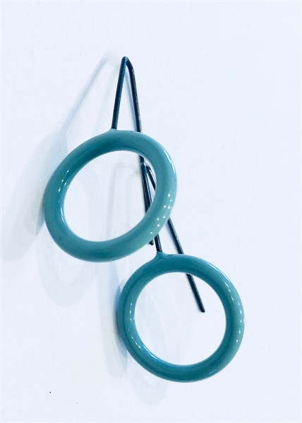 Earrings: Small Circle in Pale Blue