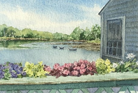 "Karen McManus | Dories from the Bridge | Watercolor | 4.12"" X 6.25"" 