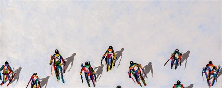 #270 Skiers with Long Shadows