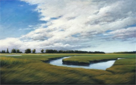 "Margaret Gerding | Marsh at Goose Rocks | Oil on Panel | 30"" X 48"" 