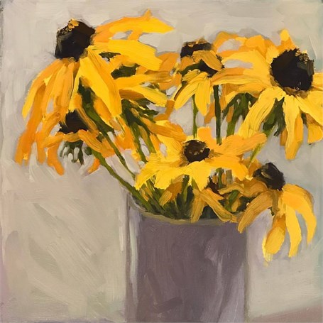 "Margaret Gerding | Day 8 (Black Eyed Susans) | Oil | 8"" X 8"" 