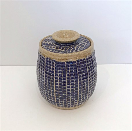 "Richard Winslow | Small Blue Jar with Lid | Ceramic | 7.5"" X 7"" 