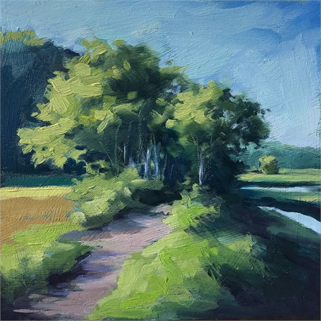 "Margaret Gerding | Morning Light-Day 13 | Oil on Panel | 8"" X 8"" 
