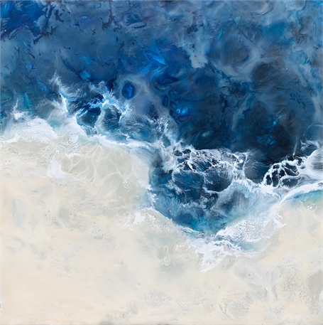 "Kathy Ostrander Roberts | Maine Waters 1 | Encaustic | 12"" X 12"" 