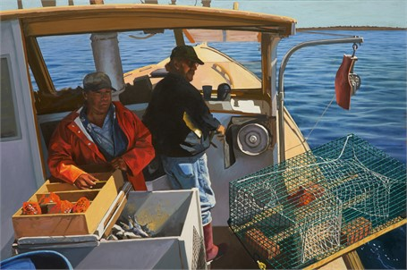 "William B. Hoyt | Lobstering on Tatiana | Oil | 24"" X 36"" 