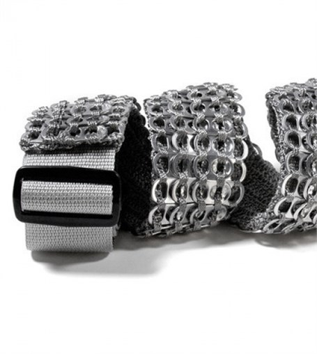 Guitar Strap - Black Crocheted Pull Tab