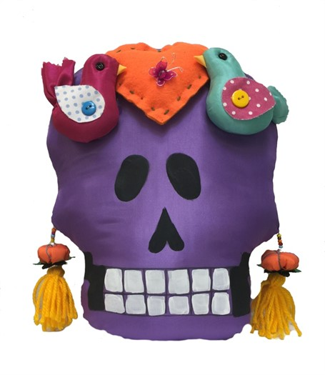 Pillow - Calavera Medio - Hand-painted fabric and sewn - Purple with Orange Heart & Birds