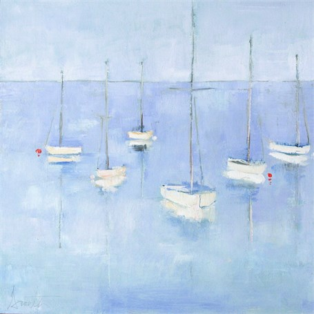"Ellen Welch Granter | Blue Moorings | Oil on Panel | 12"" X 12"" 
