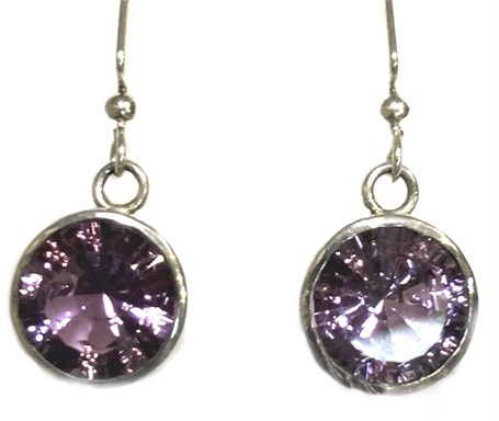 Earrings - Sterling Silver Dangles Amethyst E-688